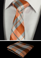 Grey Orange Plaid Check Tartan Tie Mens Set Pocket Square Napkin Hanky 415 C6