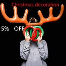 Inflatable Reindeer Christmas Xmas Antler Hat with Rings 4 Game Party Toys