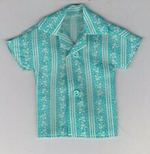 Homemade Doll Clothes-Beautiful Turquoise/White Print Shirt that fit Ken Doll B3