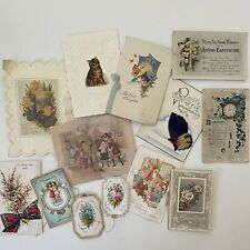 More details for antique vintage greeting cards used scrapbooking collectable ephemera [dor]