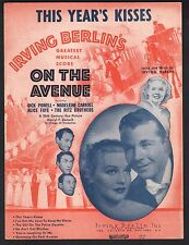 This Year's Kisses 1937 On The Avenue Alice Faye Dick Powell Sheet Music