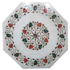 "15""x15"" Marble Table Top Lapis Inlay Handmade Work"