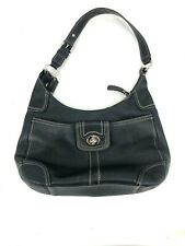 Coach Black Handbag Contrast Stitching Leather Purse Bag Toggle