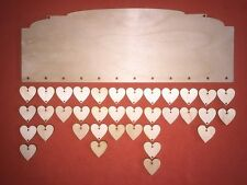 1 LONG PLAQUE n2 & hearts PLAIN BLANK WOODEN UNPAINTED BIRTHDAYS REMINDER SIGNS