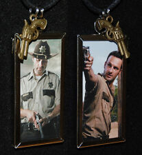 Walking Dead Inspired Rick Grimes Necklace,Andrew Lincoln,Bronze Hand Gun Charm