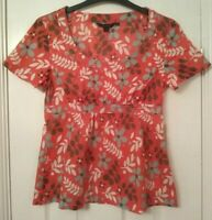 Boden Women's Short Sleeve Orange Floral Blouse w Side Zip ~ UK 8