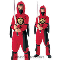 CK301 Boys Red Ninja Skull Warrior Book Week Halloween Fancy Child Kids Costume