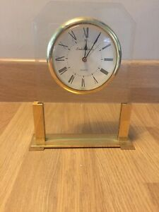 London Clock Co Glass And Brass Quartz Mantle Clock