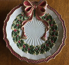 Fitz & Floyd Noel Collection Canape Plate Red Ribbon, Green Holly Ribbed