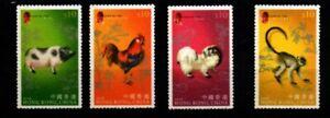 HONG KONG . YEAR OF THE PIG   FLOCKED PAPER  2007 MNH