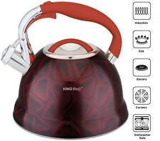 Stainless Steel Whistling Kettle 2.7Litre Induction Black/Red 3D Design /Camping