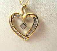 .25CT Diamond Princess Cut & Round Heart 10K Gold Pendant 19.5mmx15.5mm 1.3 +