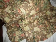 CUSTOM MOCHA LINEN BROWN RED TAN FLORAL RUFFLED (3) EURO PILLOW SHAMS 26 X 26