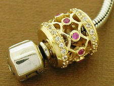 Bd097- STUNNING 9ct Solid Gold Natural Pink & White Sapphire Large Bead Pendant