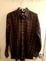 Peter Millar Mens Large Multi Colored Plaid Long Sleeve Button Down Shirt Cotton