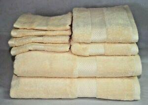 Tommy Bahama Cypress Bay Sun Eight Piece Bathroom Towel Set Solid Yellow New
