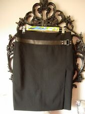 Authentic GUCCI BLACK Couture WOOL and Leather Skirt GG GORGEOUS Italian Crafted