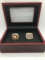 2 Pcs Colorado Avalanche Ring Set Hockey Championship Ring Set with Display Box