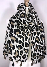 Leopard Print Scarf Pashmina Tassels Cream Black Soft Feel Oversized Long NEW