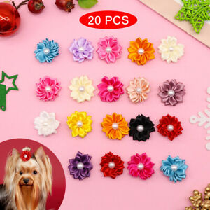 20pcs/lot Dog Hair Bows With Pearl Rubber Bands Pet Puppy Grooming Accessories