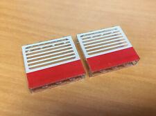 LEGO 2X LOT Panel 1 x 4 x 3 - Red Stripe, White Stripes 6680, 6380, 9364