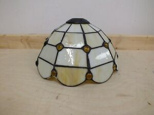 Tiffany Style Glass Pendant Light Shade Pearl Cream (Hol)