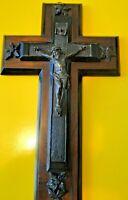 CRUCIFIX VICTORIEN ACAJOU  EBONITE NOIRE  CHRISTIANISME RELIGION