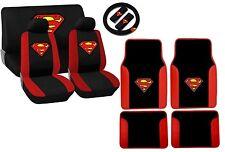 Superman Logo Black and Red Trim Seat Cover Set Floor Mats Steering Wheel HS5