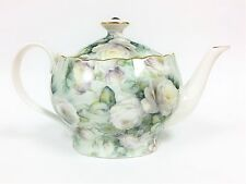 NEW GRACE'S GREEN ROSE FLORAL GOLD TRIM PORCELAIN TEAPOT+TEA,COFFEE POT