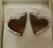 NEW ROBERTO COIN HEART WITH DIAMONDS 18K WHITE GOLD EARRINGS