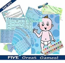 FIVE GAME BABY SHOWER MULTIPACK (Bingo, Charades..) 20 PLAYER. BLUE BOY. RRP £18