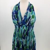 Calvin Klein Womens size 6 Halter dress Blue Green V-neck fit and flare pleated