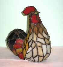 "Vintage Leaded Stained Glass Rooster 8"" Tall Excellent Condition"