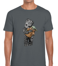 BABY YODA BABY GROOT MENS T SHIRT FUNNY CUTE COOL DESIGN STAR AVENGER JEDI WARS