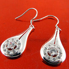 FSA475 GENUINE REAL 925 STERLING SILVER SF HOOK DIAMOND SIMULATED DROP EARRINGS