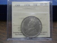 1934 Canada  Silver Half Dollar-ICCS Graded- VF30--19-135