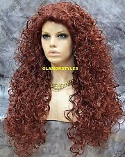 Long Curly Layered Henna Red Full Synthetic Wig Hair Piece NWT