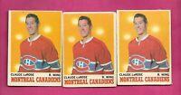 3 X 1970-71 OPC # 56 CANADIENS CLAUDE LAROSE ERROR   CARD (INV# C6848)