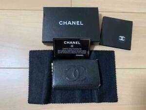 Chanel Caviar Skin Key Case Black Authentic #6095Q