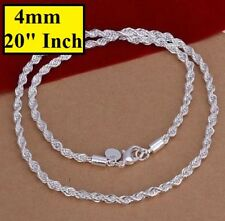 """925 Sterling Silver Women's Men's Rope Wide 4mm 20"""" Necklace Gift Pouch D184"""
