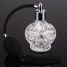 Vintage Crystal Perfume Bottle Clear Long Black Bulb Tassel Spray Atomizer 80ml