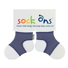 Baby Sock Ons - 6-12 Months in Blue/grey