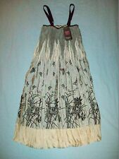 TSEGA Ivory & Grey With Gold Shimmer Puffball Strappy Dress Size UK 8