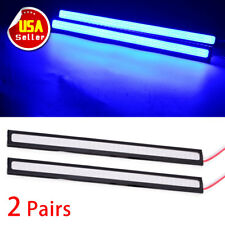 4PCS Car COB LED Lights Ultra Blue DRL High Power Lamps Strips Waterproof