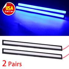 4PCS Car COB LED Lights Ultra Blue DRL High Power Lamps Strips Waterproof