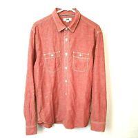 Jag Men's Long Sleeve Salmon Color Stone Wash Shirt Size L