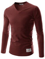 (TVL01) THELEES Unisex Slim Fit Casual Tee V-neck Long Sleeve Cotton Tshirts