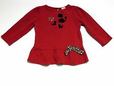 "Gymboree ""Glamour Kitty"" Cat & Kittens Ruffle LS Red Top, 3T"