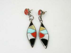 Sterling Silver Native American Zuni Stone Inlay Earrings