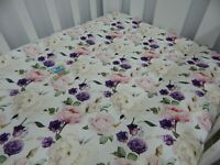 Floral Cot Sheet Fitted Roses Claire 100% Cotton Fits up to 70 x 130cm Mattress